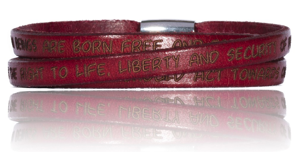 To Gilardy Human Rights Collection Leather Bracelet Bordeaux